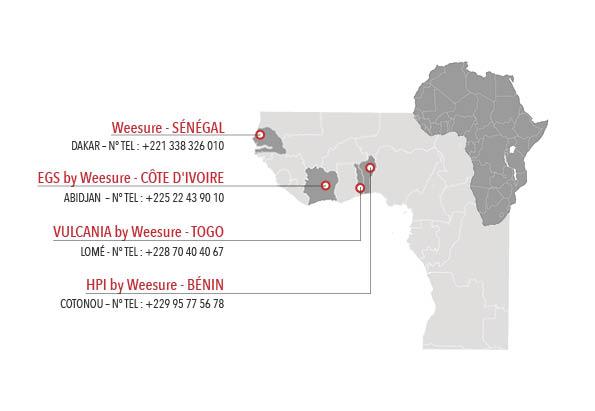 Carte des implantations en Afrique