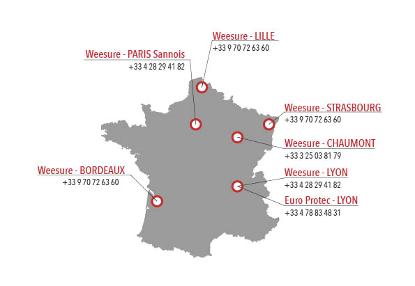 carte des implantations en France